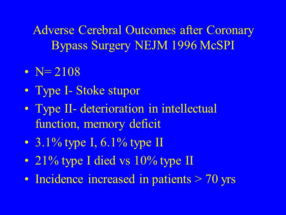 Adverse Cerebral Outcomes after Coronary Bypass Surgery NEJM 1996 McSPI N= 2108 Type I- Stoke stupor Type II- deterioration in intellectual function,