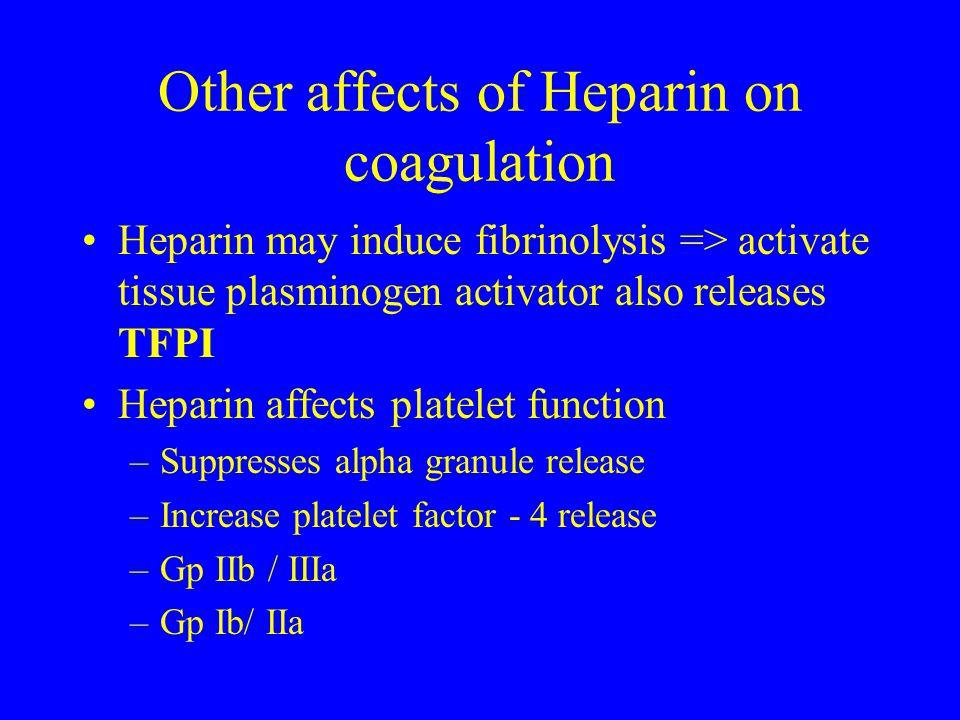 Other affects of Heparin on coagulation Heparin may induce fibrinolysis => activate tissue plasminogen activator also releases TFPI Heparin affects pl
