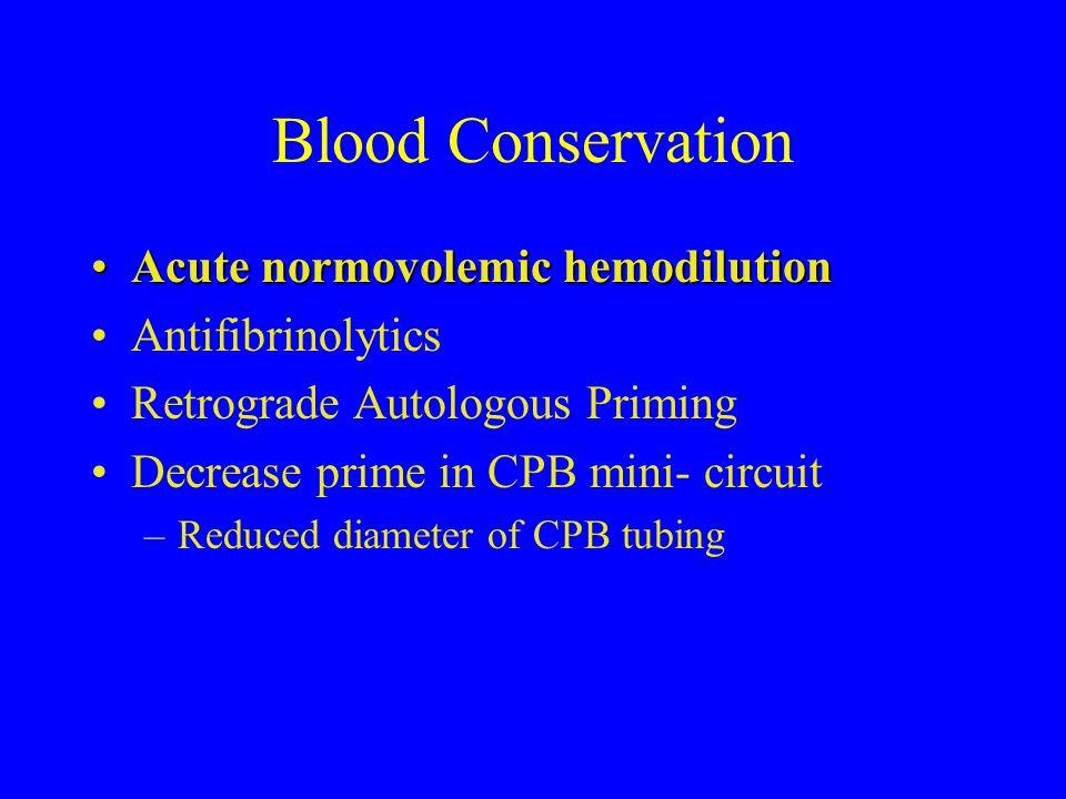 Blood Conservation Acute normovolemic hemodilutionAcute normovolemic hemodilution Antifibrinolytics Retrograde Autologous Priming Decrease prime in CP