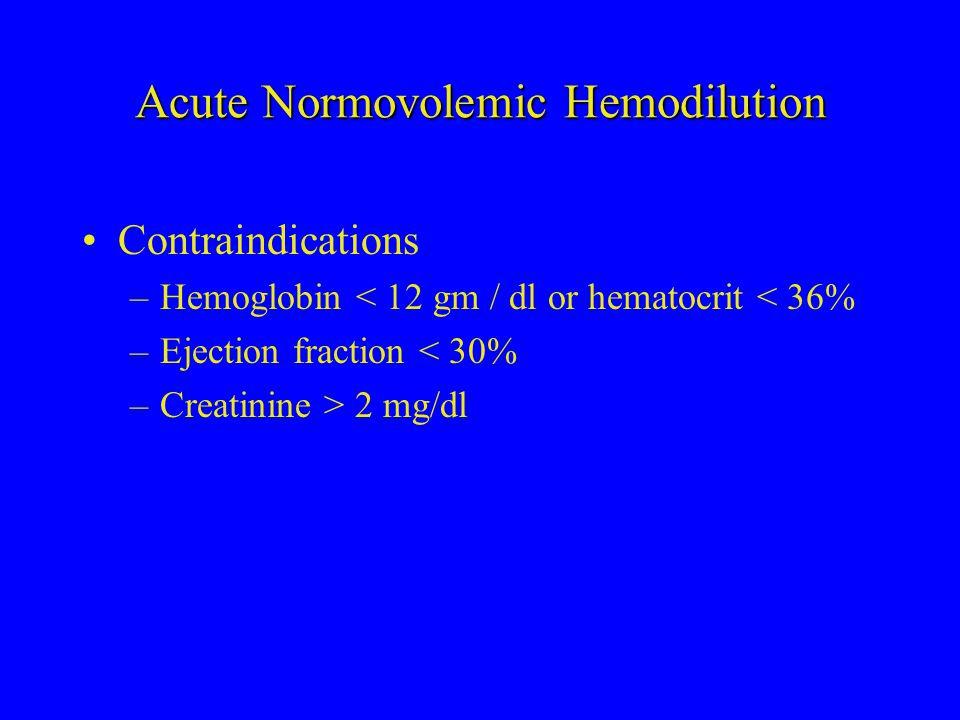 Acute Normovolemic Hemodilution Contraindications –Hemoglobin < 12 gm / dl or hematocrit < 36% –Ejection fraction < 30% –Creatinine > 2 mg/dl