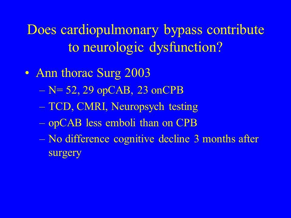 Does cardiopulmonary bypass contribute to neurologic dysfunction? Ann thorac Surg 2003 –N= 52, 29 opCAB, 23 onCPB –TCD, CMRI, Neuropsych testing –opCA