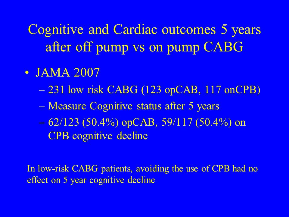 Cognitive and Cardiac outcomes 5 years after off pump vs on pump CABG JAMA 2007 –231 low risk CABG (123 opCAB, 117 onCPB) –Measure Cognitive status af