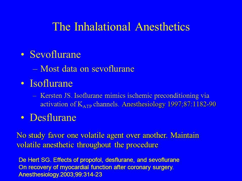 The Inhalational Anesthetics Sevoflurane –Most data on sevoflurane Isoflurane Anesthesiology 1997;87:1182-90 –Kersten JS. Isoflurane mimics ischemic p