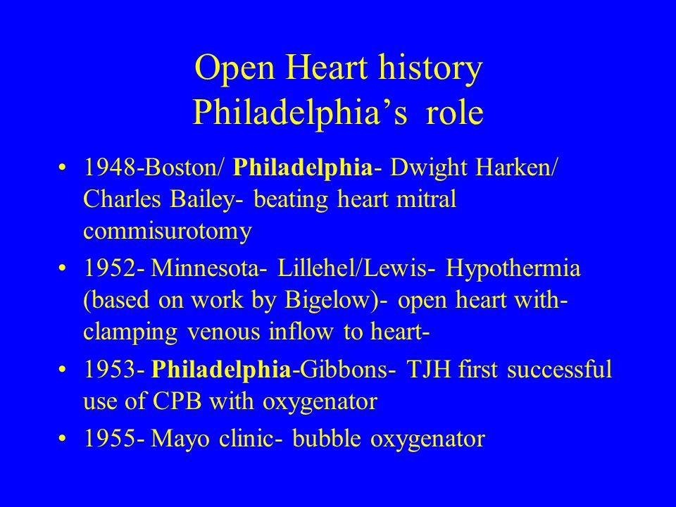 Open Heart history Philadelphia's role 1948-Boston/ Philadelphia- Dwight Harken/ Charles Bailey- beating heart mitral commisurotomy 1952- Minnesota- L