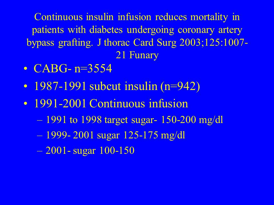 Continuous insulin infusion reduces mortality in patients with diabetes undergoing coronary artery bypass grafting. J thorac Card Surg 2003;125:1007-