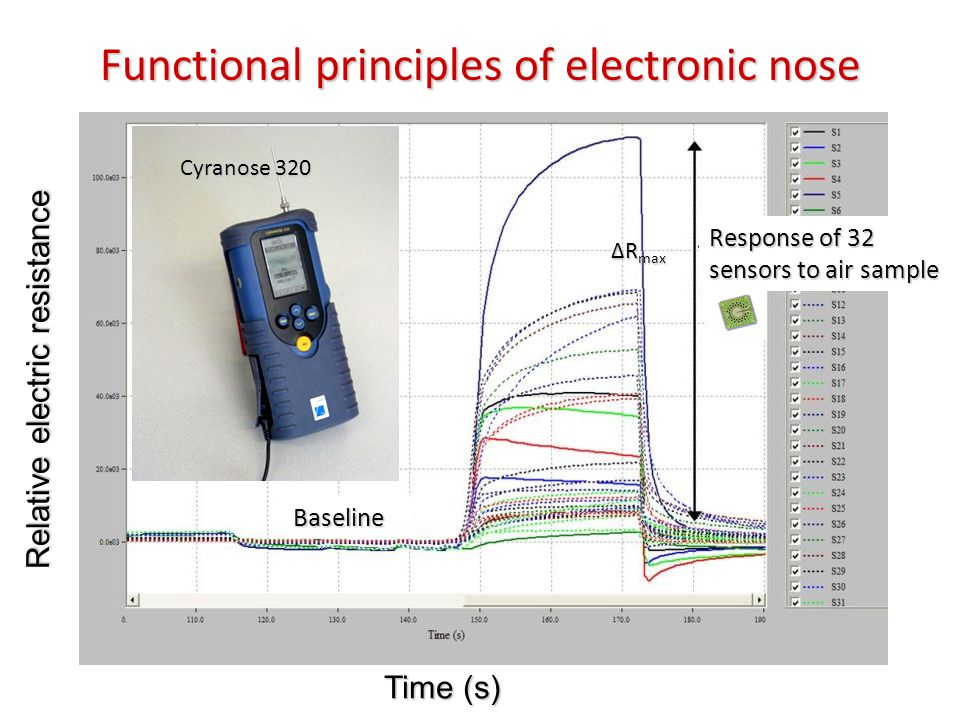Time (s) Relative electric resistance Baseline Response of 32 sensors to air sample Functional principles of electronic nose ΔR max Cyranose 320