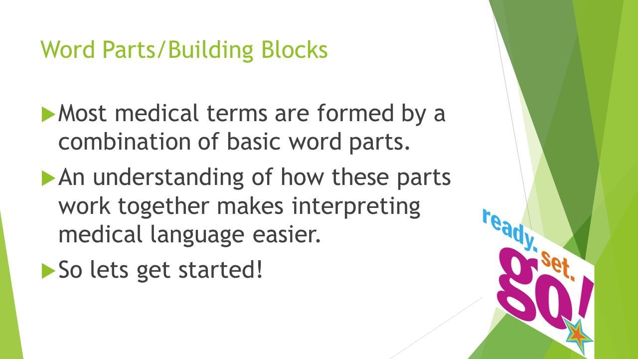 Word Parts/Building Blocks  Prefixes – usually indicate location, time, or number and come at the beginning of a word  Suffixes – usually indicate the procedure, disease, or condition and come after the root word  Root Words – usually indicate the part of the body involved  Combining Vowel :  1.