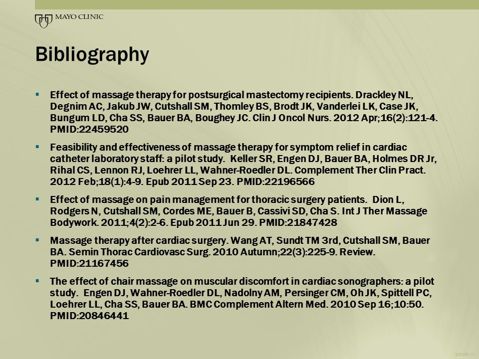 Bibliography  Effect of massage therapy for postsurgical mastectomy recipients.