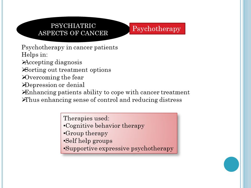 PSYCHIATRIC ASPECTS OF CANCER Psychotherapy in cancer patients Helps in:  Accepting diagnosis  Sorting out treatment options  Overcoming the fear  Depression or denial  Enhancing patients ability to cope with cancer treatment  Thus enhancing sense of control and reducing distress Therapies used: Cognitive behavior therapy Group therapy Self help groups Supportive expressive psychotherapy Therapies used: Cognitive behavior therapy Group therapy Self help groups Supportive expressive psychotherapy Psychotherapy