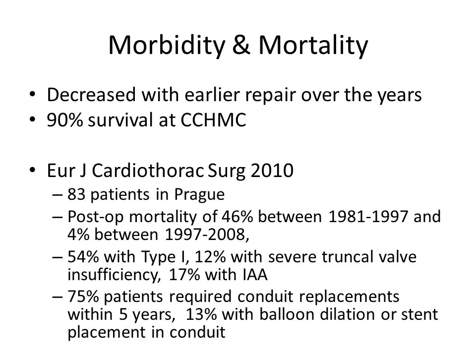 Morbidity & Mortality Decreased with earlier repair over the years 90% survival at CCHMC Eur J Cardiothorac Surg 2010 – 83 patients in Prague – Post-o