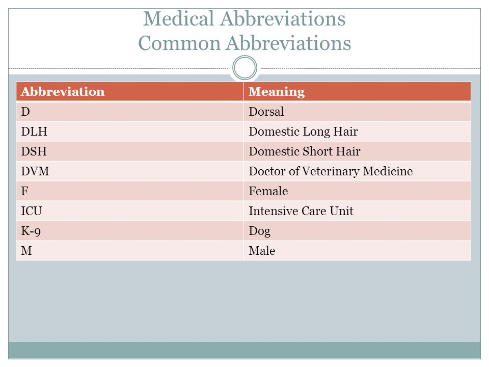 Medical Abbreviations Common Abbreviations AbbreviationMeaning DDorsal DLHDomestic Long Hair DSHDomestic Short Hair DVMDoctor of Veterinary Medicine FFemale ICUIntensive Care Unit K-9Dog MMale