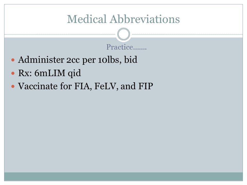 Medical Abbreviations Practice…….