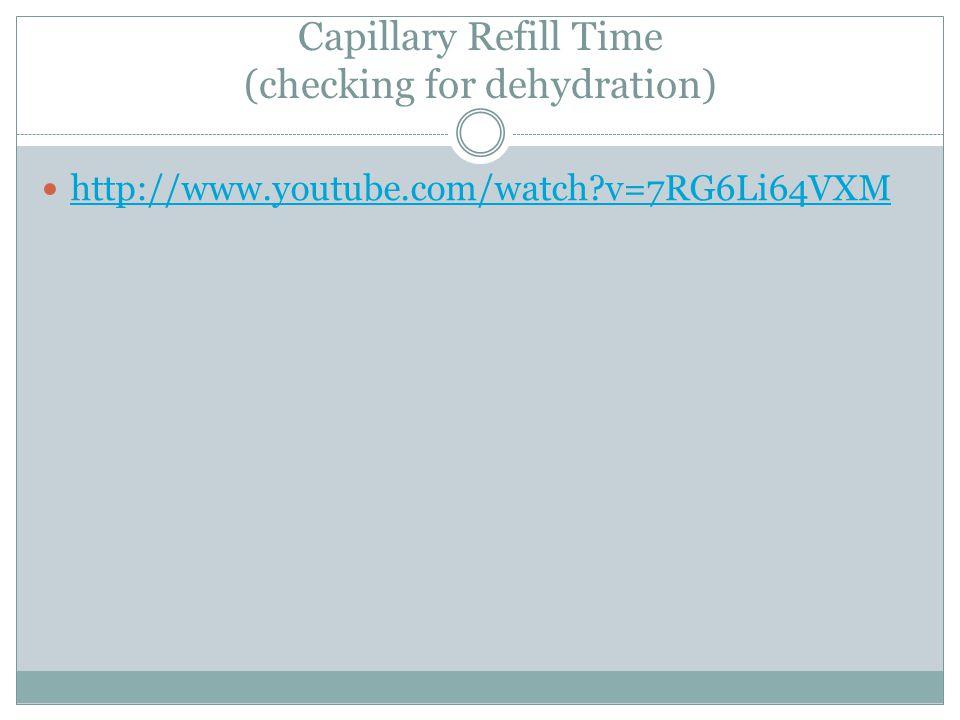 Capillary Refill Time (checking for dehydration) http://www.youtube.com/watch?v=7RG6Li64VXM