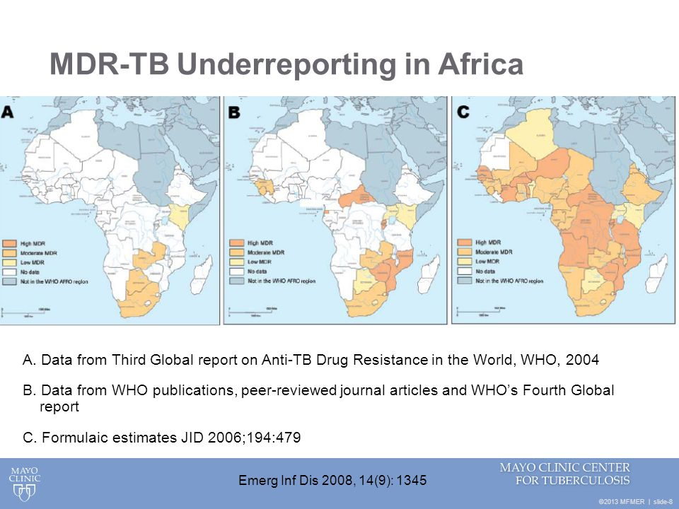 ©2013 MFMER   slide-8 MDR-TB Underreporting in Africa A. Data from Third Global report on Anti-TB Drug Resistance in the World, WHO, 2004 B. Data from
