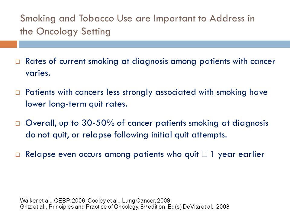 Smoking and Tobacco Use are Important to Address in the Oncology Setting Walker et al., CEBP, 2006; Cooley et al., Lung Cancer, 2009; Gritz et al., Pr
