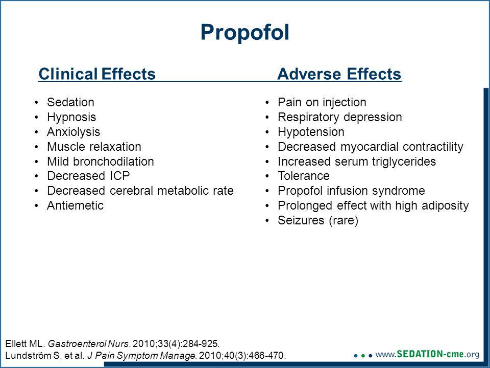 Propofol Sedation Hypnosis Anxiolysis Muscle relaxation Mild bronchodilation Decreased ICP Decreased cerebral metabolic rate Antiemetic Ellett ML.