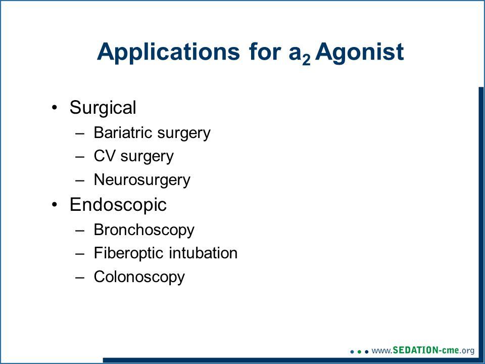 Applications for a 2 Agonist Surgical –Bariatric surgery –CV surgery –Neurosurgery Endoscopic –Bronchoscopy –Fiberoptic intubation –Colonoscopy