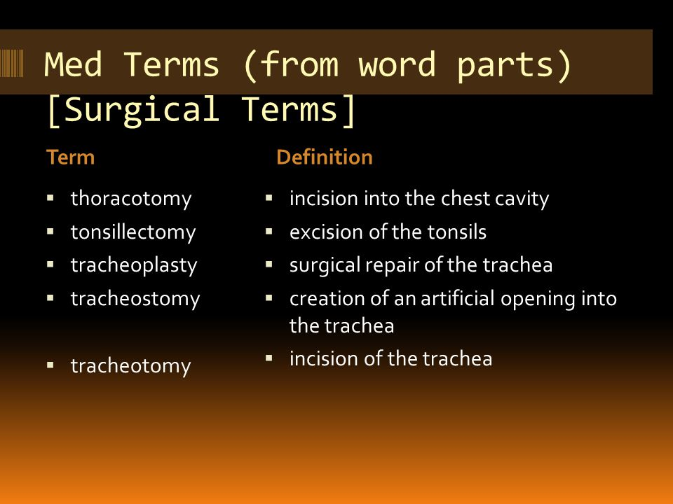 Med Terms (from word parts) [Surgical Terms] TermDefinition  thoracotomy  tonsillectomy  tracheoplasty  tracheostomy  tracheotomy  incision into the chest cavity  excision of the tonsils  surgical repair of the trachea  creation of an artificial opening into the trachea  incision of the trachea