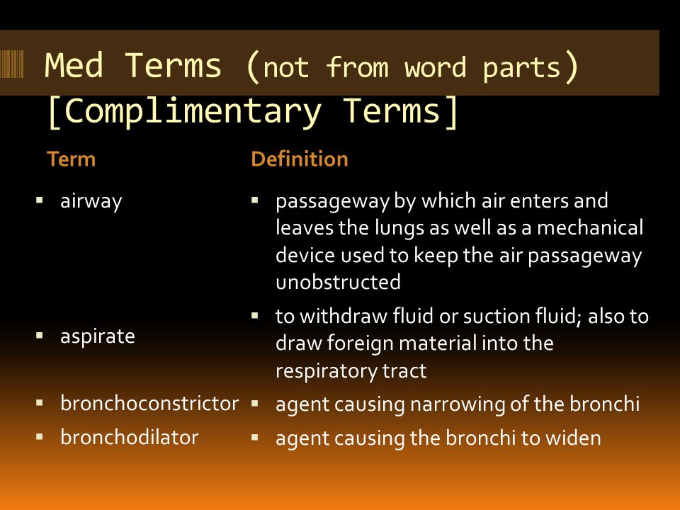 Med Terms ( not from word parts ) [Complimentary Terms] TermDefinition  airway  aspirate  bronchoconstrictor  bronchodilator  passageway by which air enters and leaves the lungs as well as a mechanical device used to keep the air passageway unobstructed  to withdraw fluid or suction fluid; also to draw foreign material into the respiratory tract  agent causing narrowing of the bronchi  agent causing the bronchi to widen