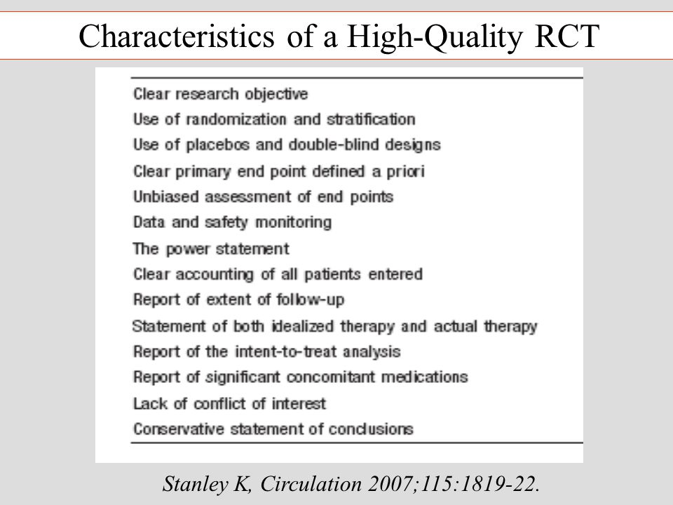 Stanley K, Circulation 2007;115:1819-22. Characteristics of a High-Quality RCT