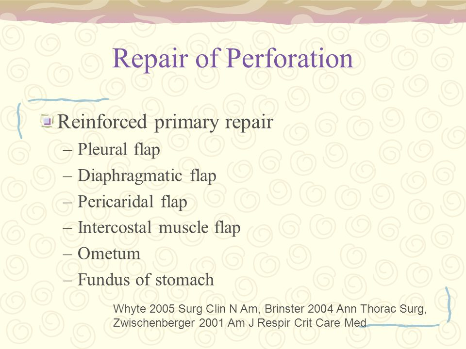 Repair of Perforation Reinforced primary repair –Pleural flap –Diaphragmatic flap –Pericaridal flap –Intercostal muscle flap –Ometum –Fundus of stomach Whyte 2005 Surg Clin N Am, Brinster 2004 Ann Thorac Surg, Zwischenberger 2001 Am J Respir Crit Care Med