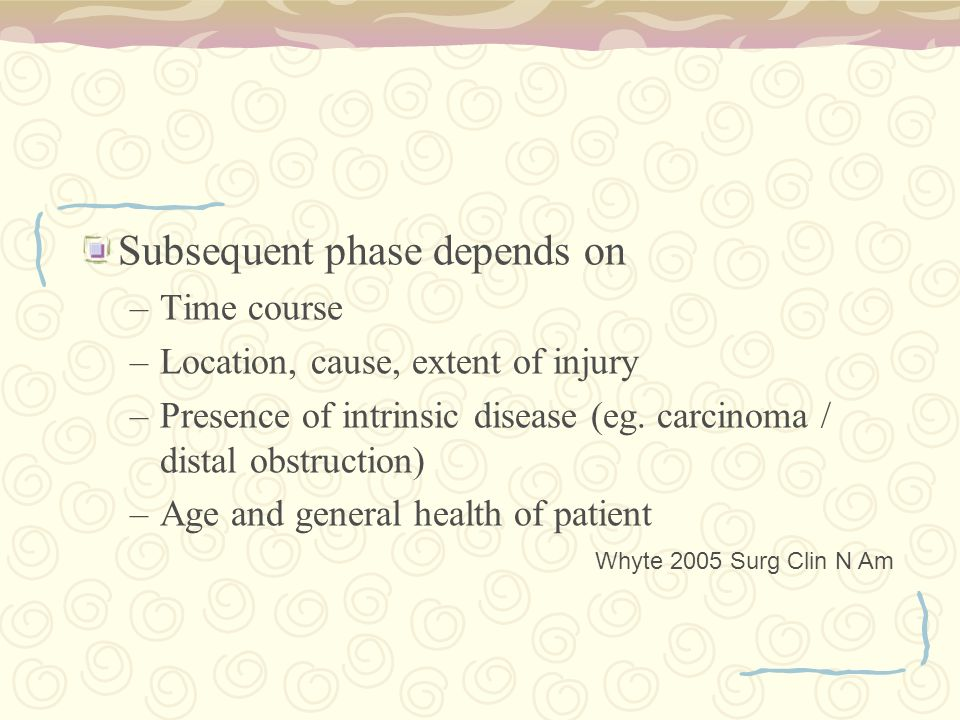 Subsequent phase depends on –Time course –Location, cause, extent of injury –Presence of intrinsic disease (eg.