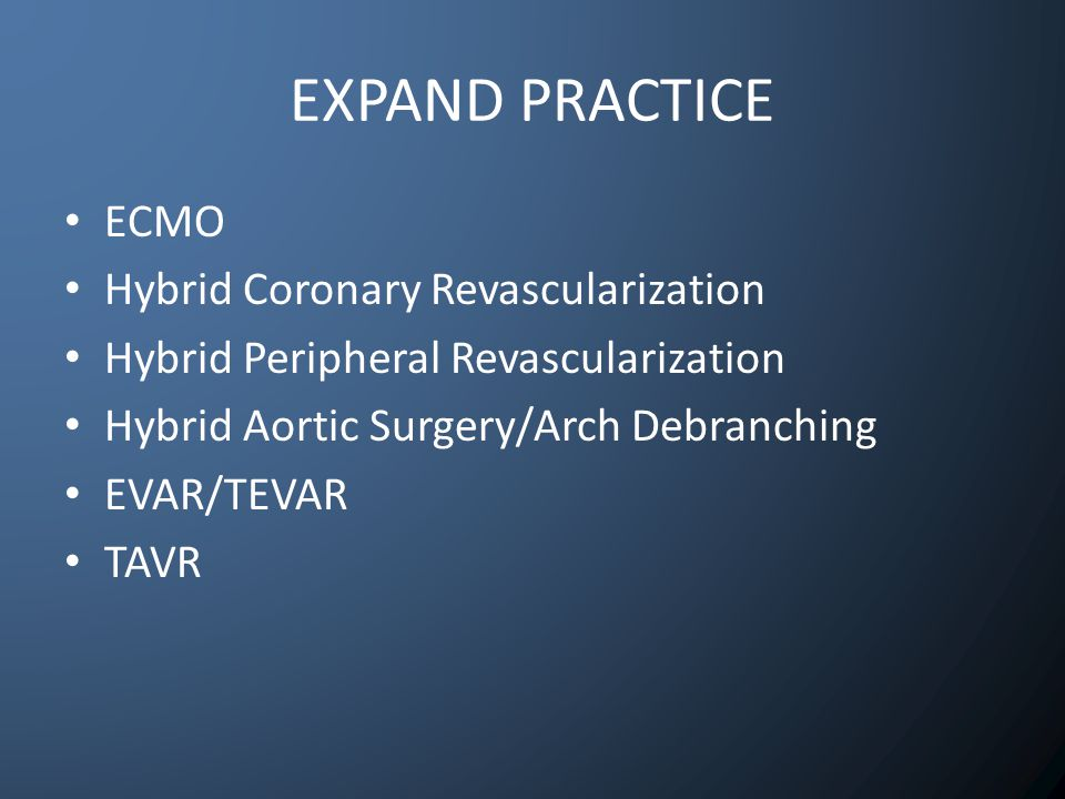 EXPAND PRACTICE ECMO Hybrid Coronary Revascularization Hybrid Peripheral Revascularization Hybrid Aortic Surgery/Arch Debranching EVAR/TEVAR TAVR