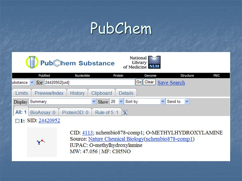 PubChem Links in PubMed (Citation Format) PubChem provides information on the biological activities of small molecules.