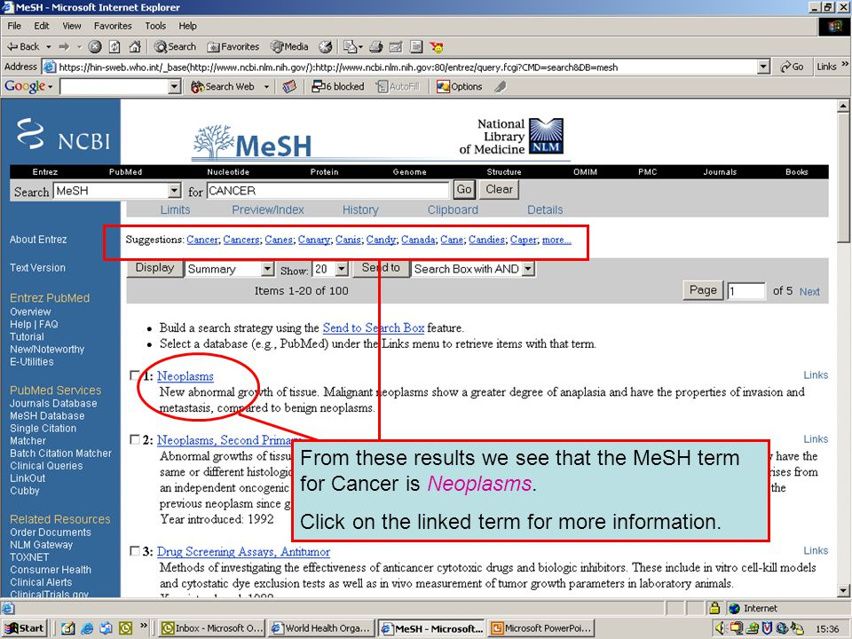 MeSH search results From these results we see that the MeSH term for Cancer is Neoplasms.