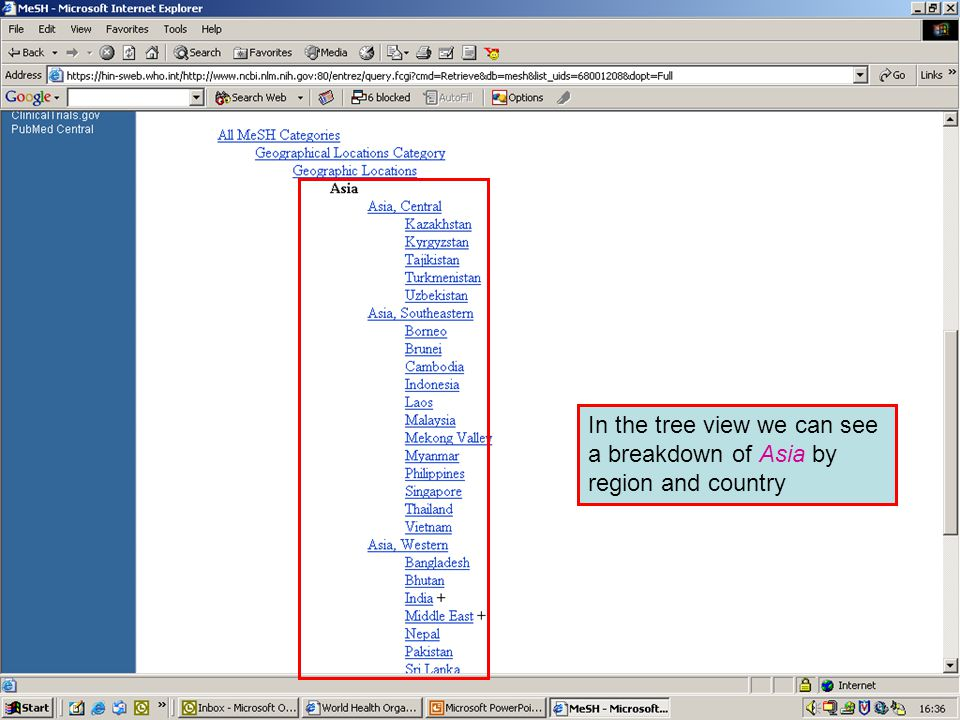 Geographical MeSH terms 3 In the tree view we can see a breakdown of Asia by region and country