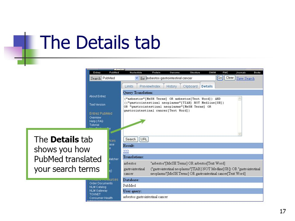 17 The Details tab The Details tab shows you how PubMed translated your search terms