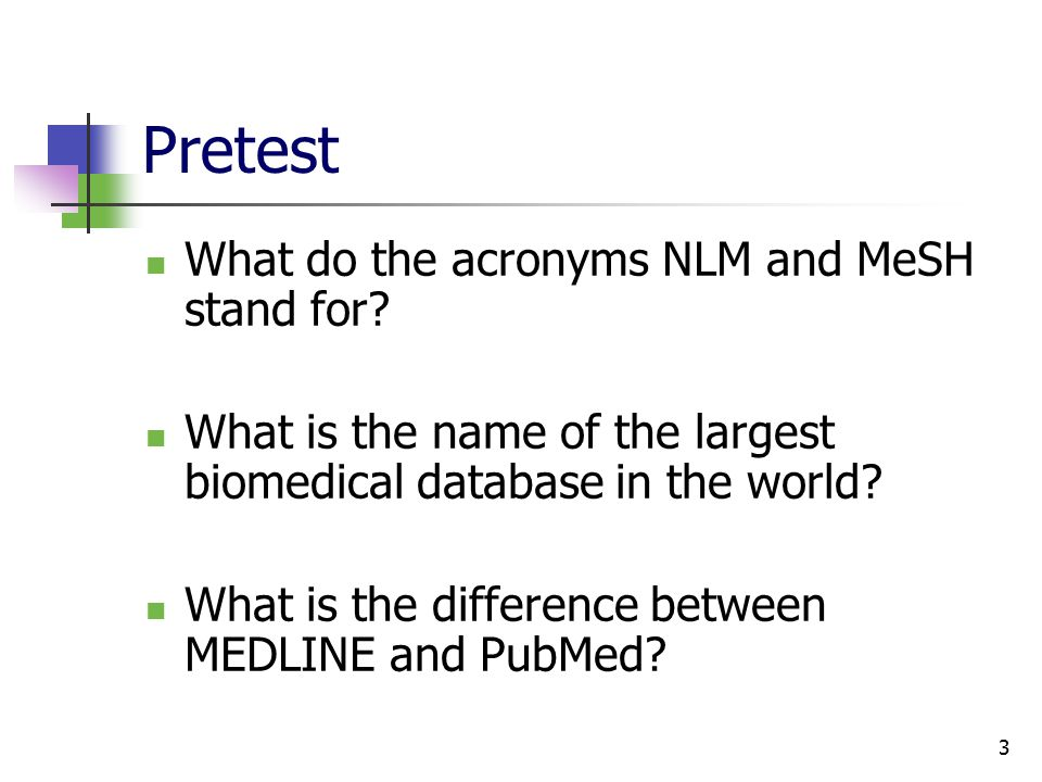 3 Pretest What do the acronyms NLM and MeSH stand for.