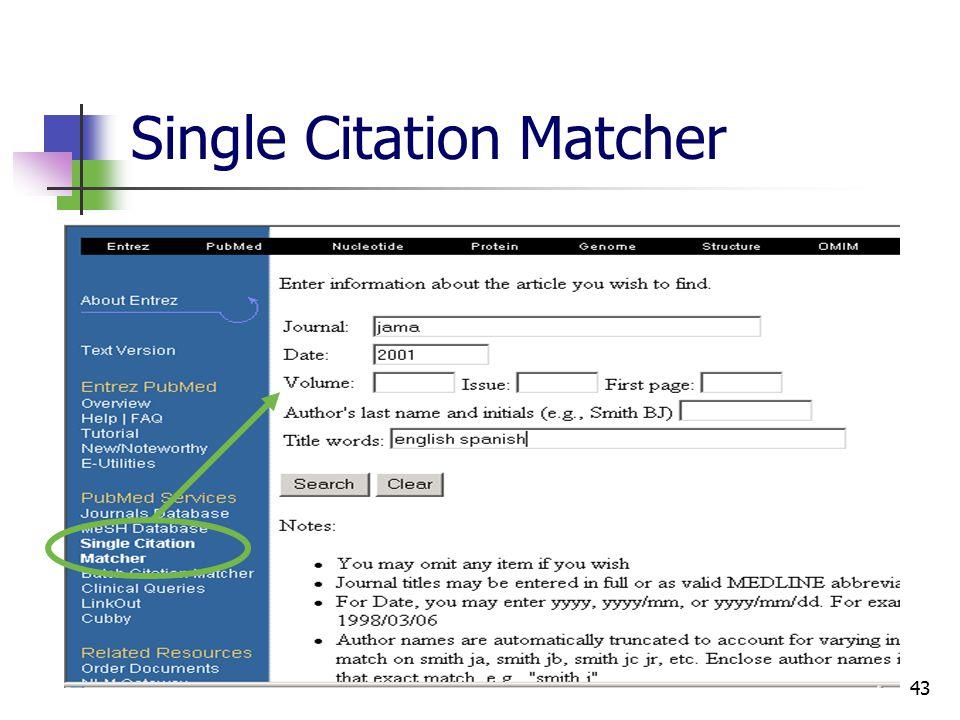 43 Single Citation Matcher