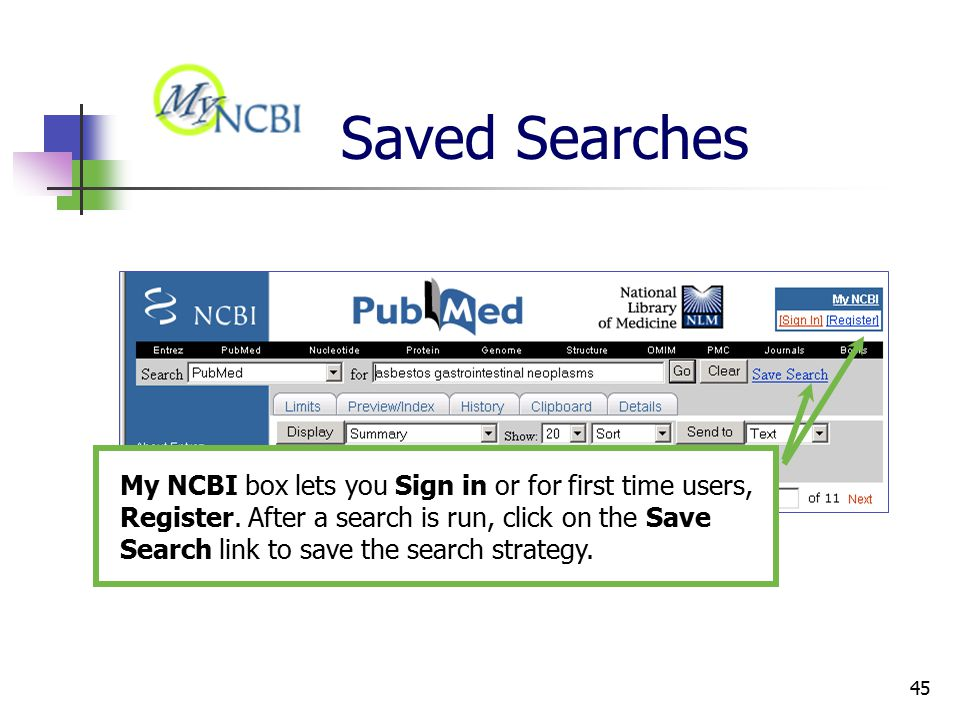 45 Saved Searches My NCBI box lets you Sign in or for first time users, Register.