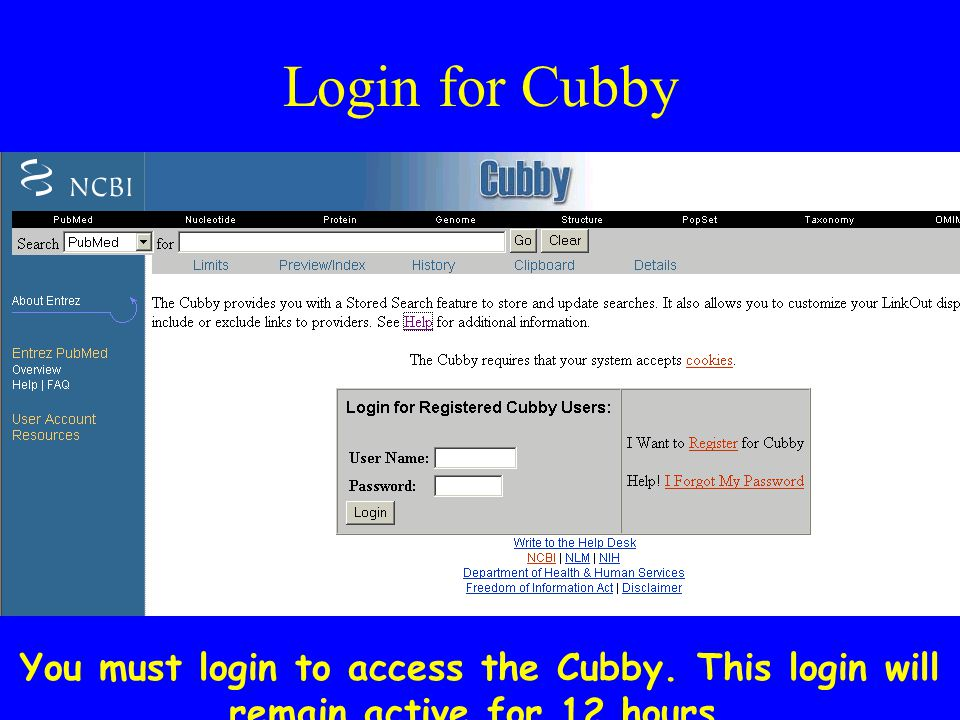 Login for Cubby You must login to access the Cubby. This login will remain active for 12 hours.