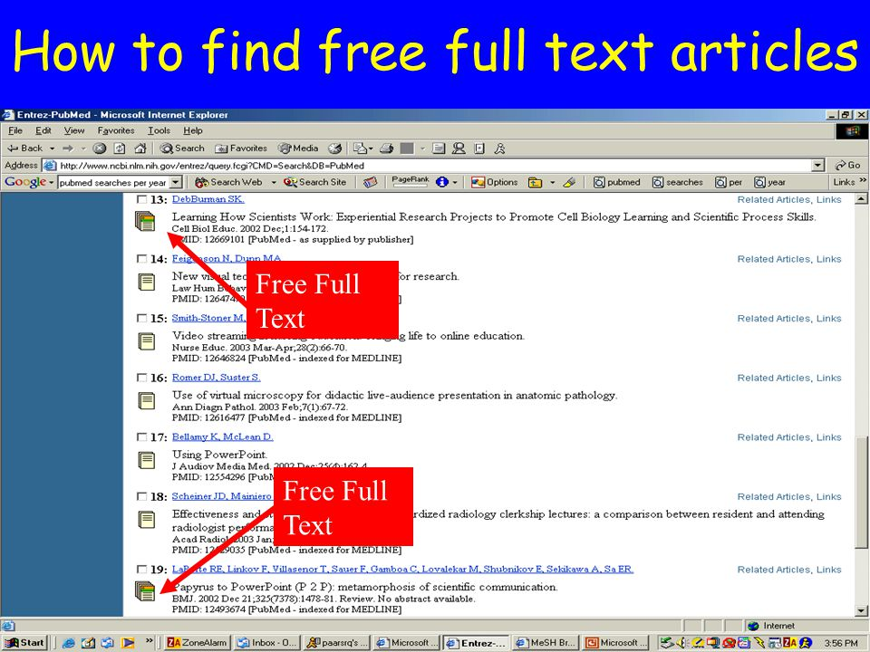 How to find free full text articles Free Full Text