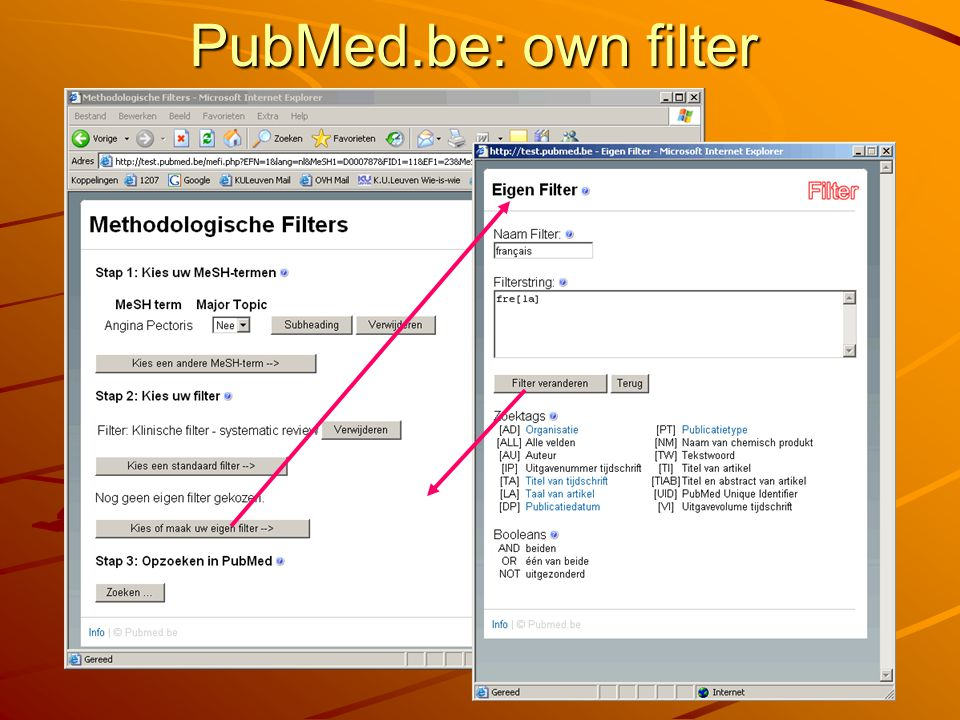 PubMed.be: own filter
