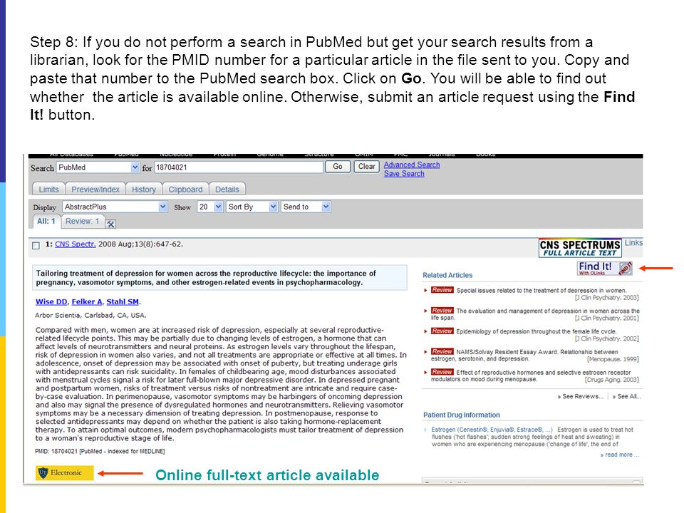 Step 8: If you do not perform a search in PubMed but get your search results from a librarian, look for the PMID number for a particular article in the file sent to you.