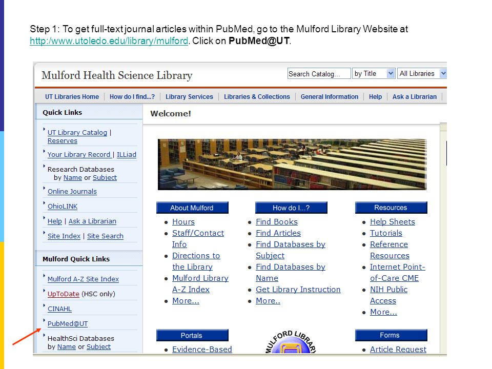 Step 2: Click on the link PubMed@UT.