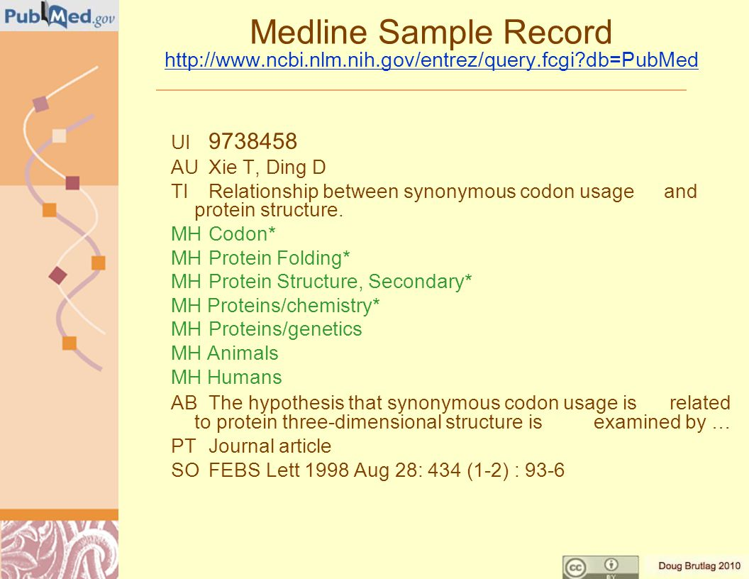 Medline Sample Record http://www.ncbi.nlm.nih.gov/entrez/query.fcgi db=PubMed http://www.ncbi.nlm.nih.gov/entrez/query.fcgi db=PubMed UI 9738458 AUXie T, Ding D TIRelationship between synonymous codon usage and protein structure.