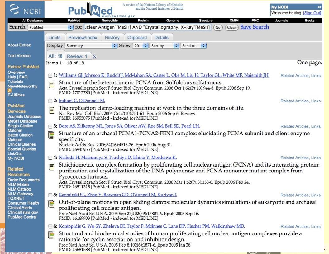 PCNA Crystallography PubMed Search