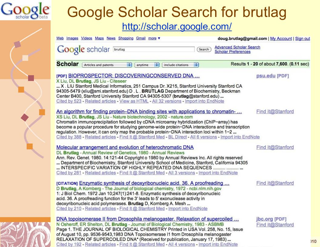 Google Scholar Search for brutlag http://scholar.google.com/ http://scholar.google.com/