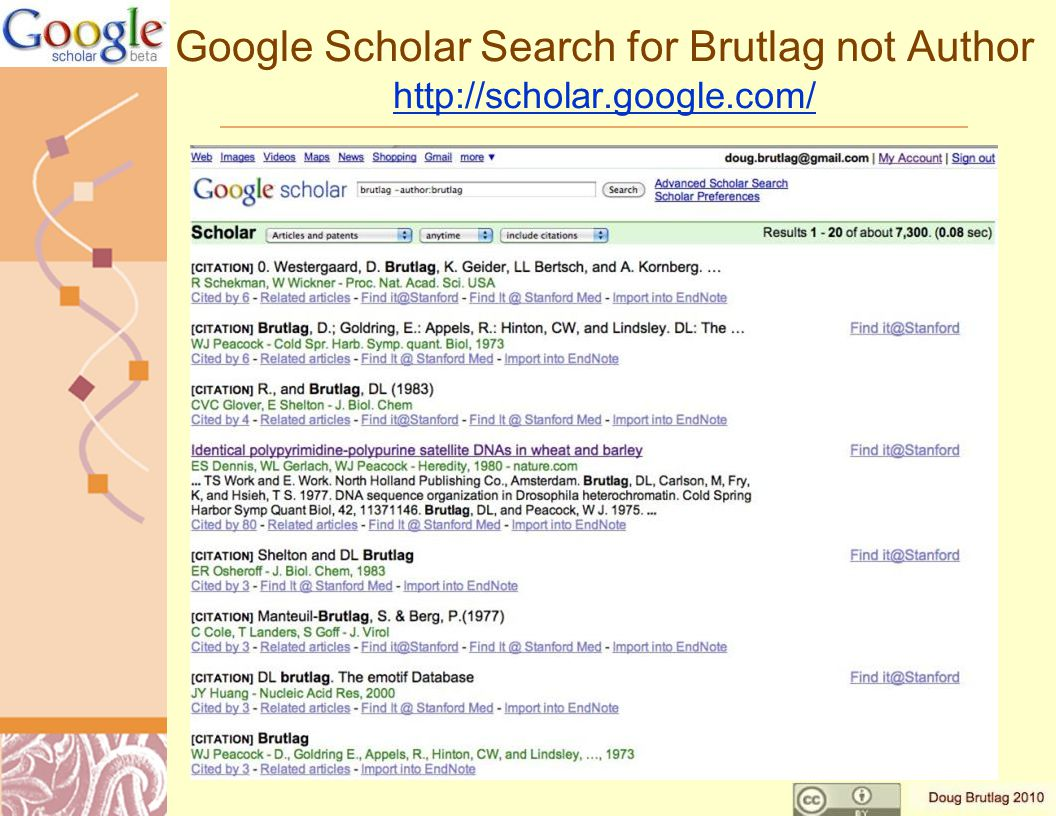 Google Scholar Search for Brutlag not Author http://scholar.google.com/ http://scholar.google.com/