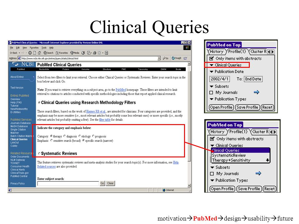 Clinical Queries motivation  PubMed  design  usability  future