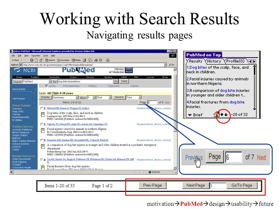 Working with Search Results Navigating results pages motivation  PubMed  design  usability  future