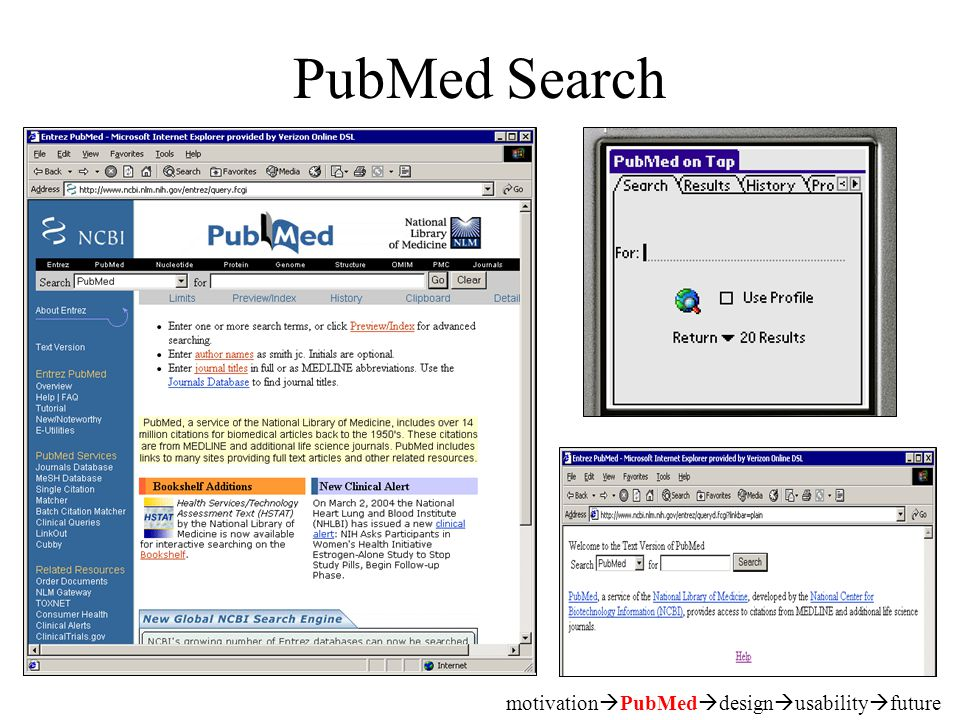 PubMed Search motivation  PubMed  design  usability  future