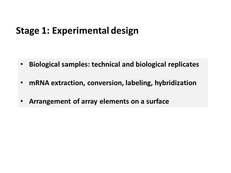 Stage 1: Experimental design Biological samples: technical and biological replicates mRNA extraction, conversion, labeling, hybridization Arrangement of array elements on a surface