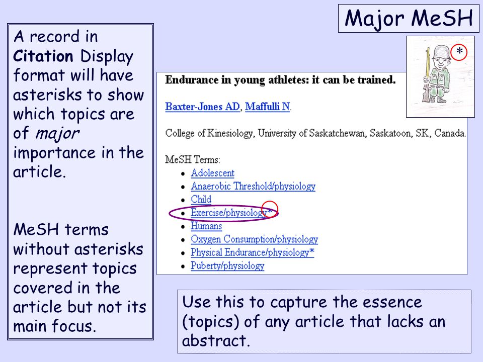 Major MeSH A record in Citation Display format will have asterisks to show which topics are of major importance in the article.