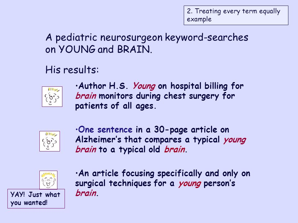 A pediatric neurosurgeon keyword-searches on YOUNG and BRAIN.