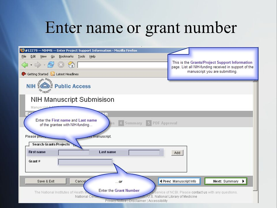 Enter name or grant number